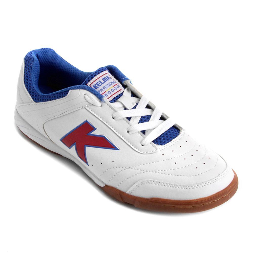 Chuteira para Futsal Kelme Precision TRN Branco Vermelho Azul ... 5ba9abbf1c3ae