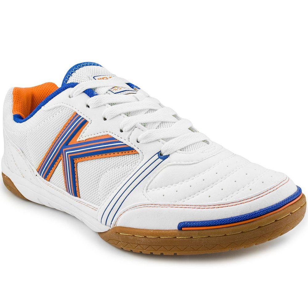 Chuteira Kelme Millenium Futsal Branca E Azul e laranja - Mercostore ... f64029d42bc1a