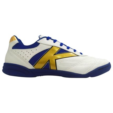 chuteira-futsal-kelme-skill-fs-branco-azul-dourado