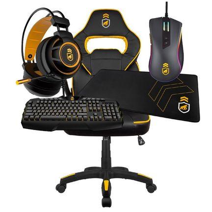 kit-gamer-armor-2-cadeira-gamer-preta-amarela-headset-armor-mouse-dual-shock-mousepad-tech-grip-teclado-tech-fury-gamer-gorila