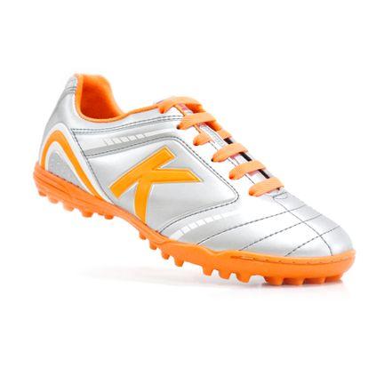 chuteira-society-kelme-sprint-1-0-tf-prata-laranja