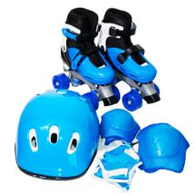 Patins 4 Rodas Roller Azul Kit Proteção P BW-017AZ Importway