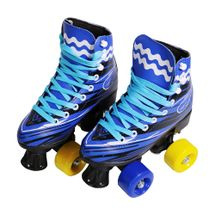 Patins 4 Rodas Roller Clássico Azul Tamanho 36/37 Importway