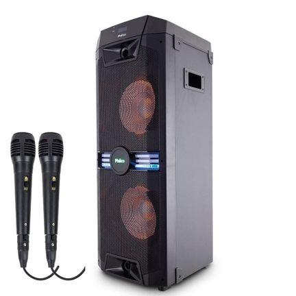 Caixa Amplificada Philco PCX18000 ExBass 1700w 02 Microfones