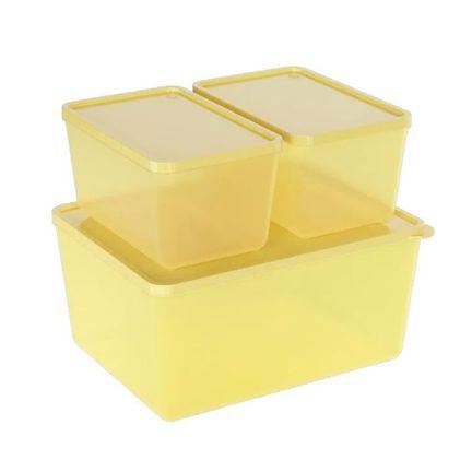 Conjunto 3 Potes Amarelo Soft Elétrico Translúcido Basic Coza