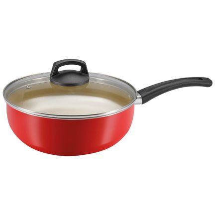 Frigideira Wok 24 Vermelho Com Tampa Premium Panelux