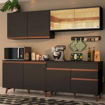 Cozinha Completa Madesa Reims 240001 com Armário e Balcão Preto