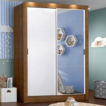 Guarda-Roupa Infantil Madesa Bento 2 Portas de Correr com Espelho 2 Gavetas Rustic/Branco