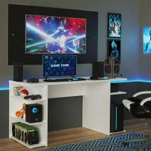 Mesa para Computador Gamer Madesa 9409 e Painel para TV até 58 Polegadas Branco/Preto