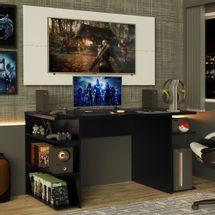 Mesa para Computador Gamer Madesa 9409 e Painel para TV até 50 Polegadas Preto/Branco