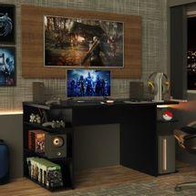 Mesa para Computador Gamer Madesa 9409 e Painel para TV até 50 Polegadas Preto/Rustic